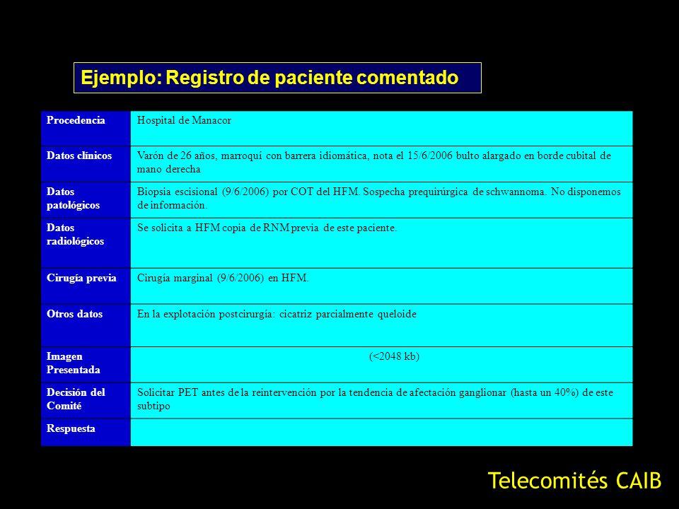 Telecomités CAIB Ejemplo: Registro de paciente comentado Procedencia