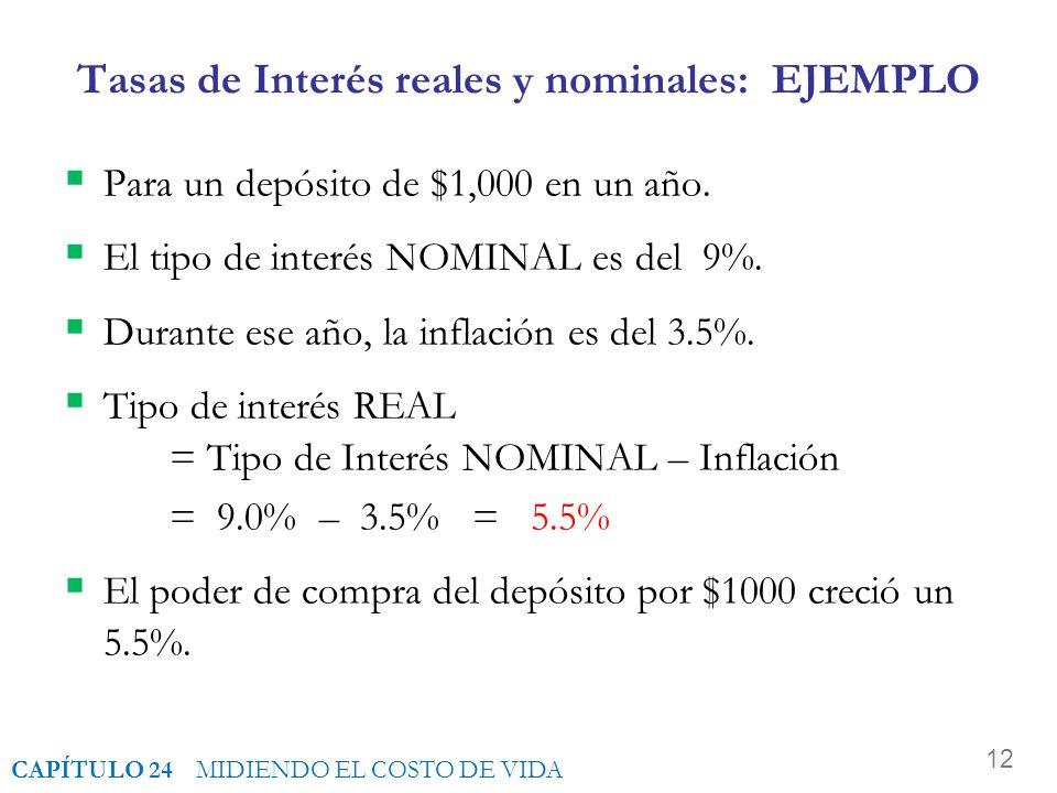 Tasas de Interés reales y nominales: EJEMPLO