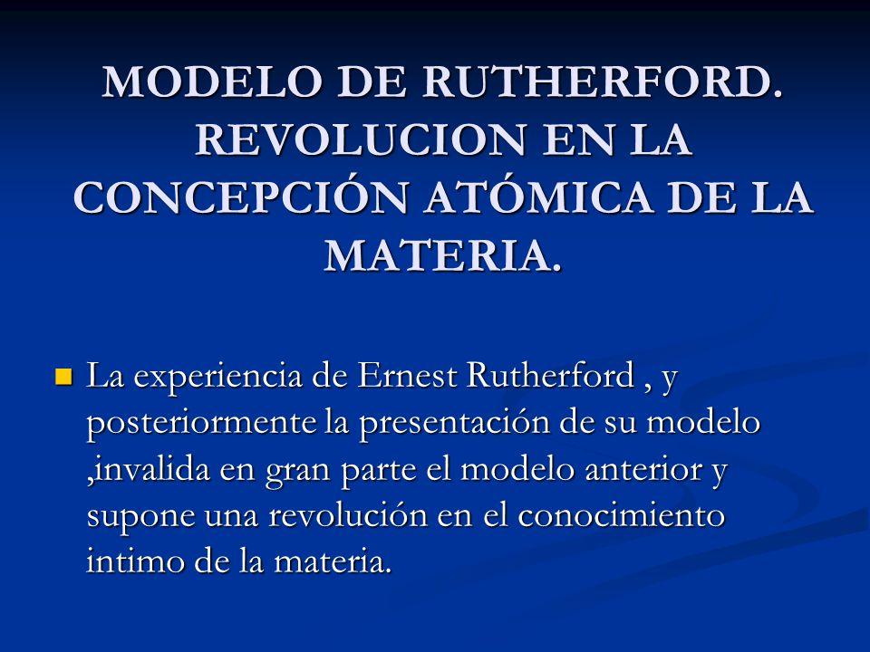 MODELO DE RUTHERFORD. REVOLUCION EN LA CONCEPCIÓN ATÓMICA DE LA MATERIA.