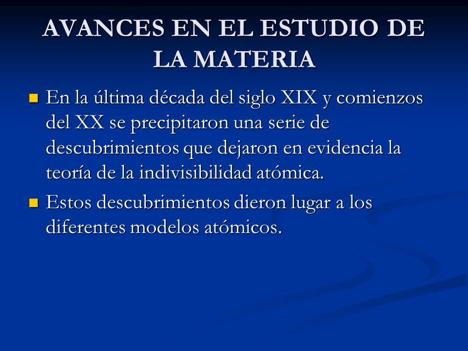 AVANCES EN EL ESTUDIO DE LA MATERIA