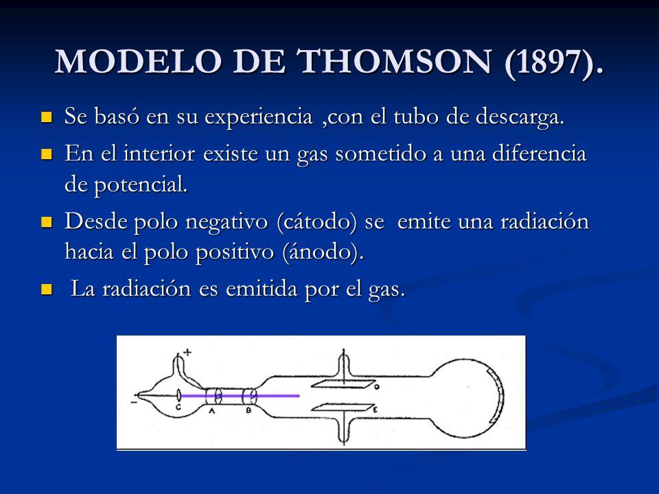 MODELO DE THOMSON (1897). Se basó en su experiencia ,con el tubo de descarga. En el interior existe un gas sometido a una diferencia de potencial.