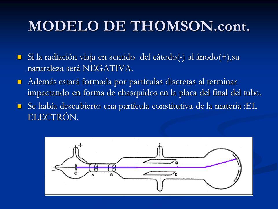 MODELO DE THOMSON.cont. Si la radiación viaja en sentido del cátodo(-) al ánodo(+),su naturaleza será NEGATIVA.