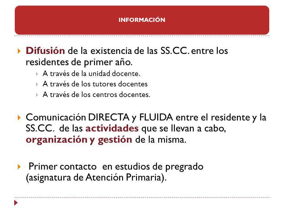 INFORMACIÓN Difusión de la existencia de las SS.CC. entre los residentes de primer año. A través de la unidad docente.