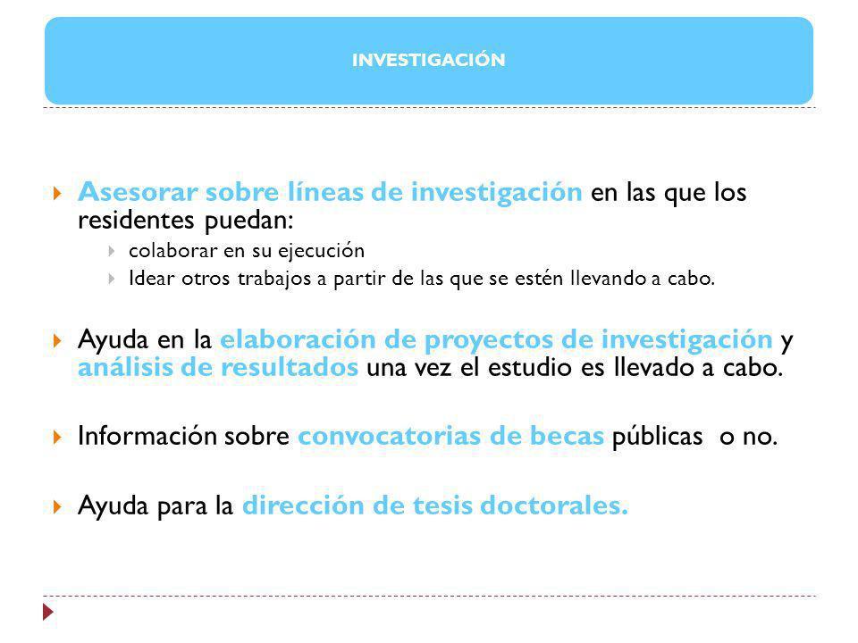 Información sobre convocatorias de becas públicas o no.