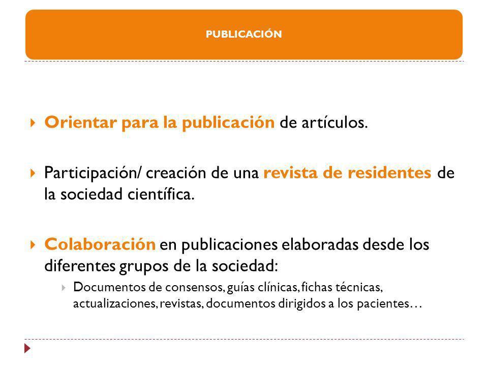 Orientar para la publicación de artículos.