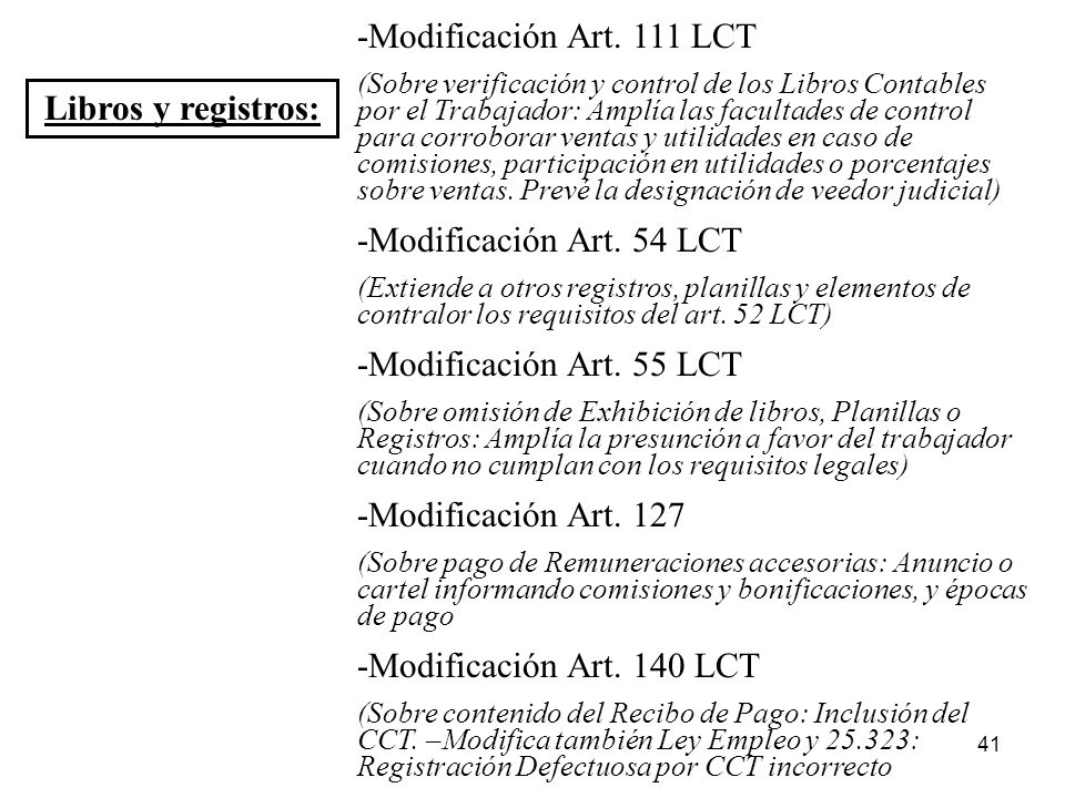 -Modificación Art. 111 LCT Libros y registros: