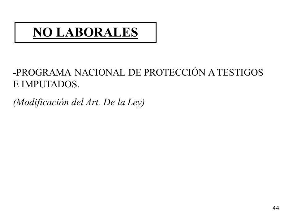 NO LABORALES -PROGRAMA NACIONAL DE PROTECCIÓN A TESTIGOS E IMPUTADOS.