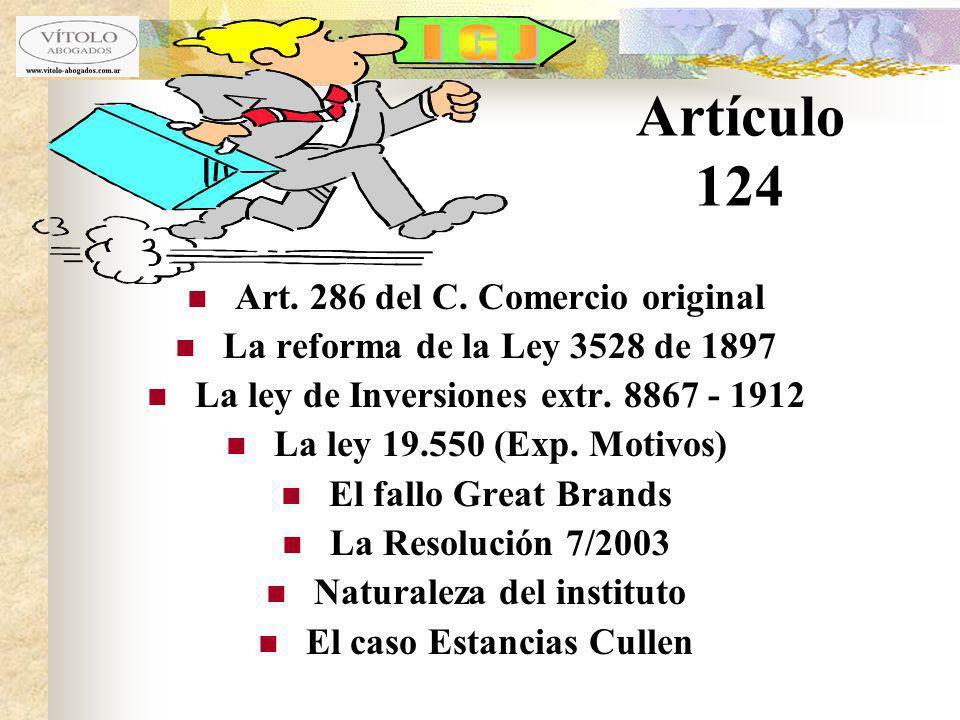 Artículo 124 I G J Art. 286 del C. Comercio original