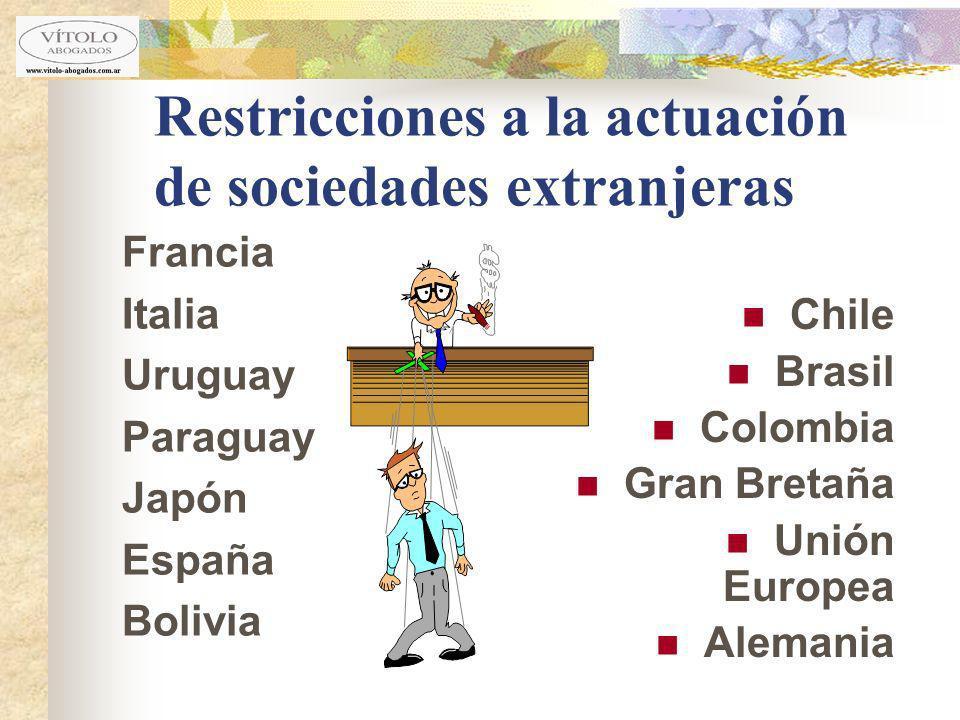 Restricciones a la actuación de sociedades extranjeras