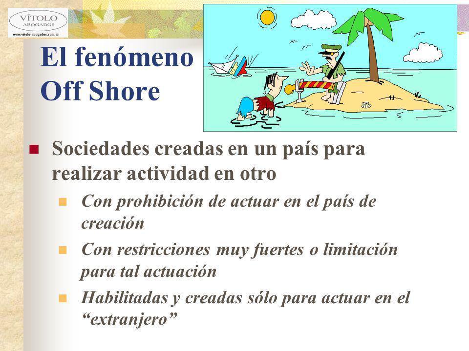 El fenómeno Off Shore Sociedades creadas en un país para realizar actividad en otro. Con prohibición de actuar en el país de creación.