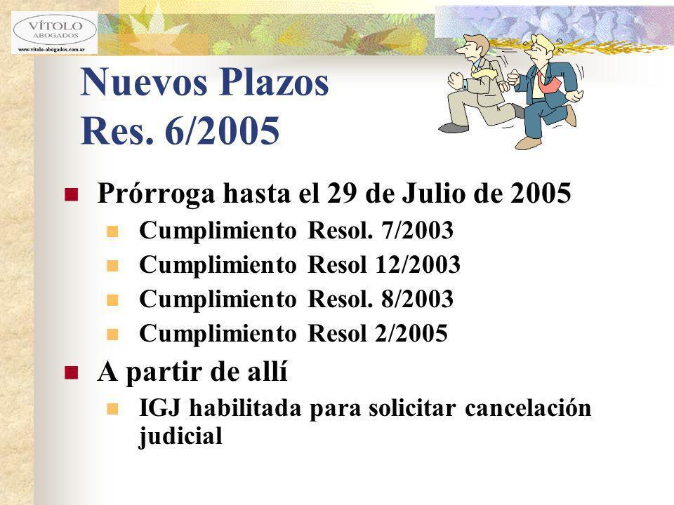 Nuevos Plazos Res. 6/2005 Prórroga hasta el 29 de Julio de 2005