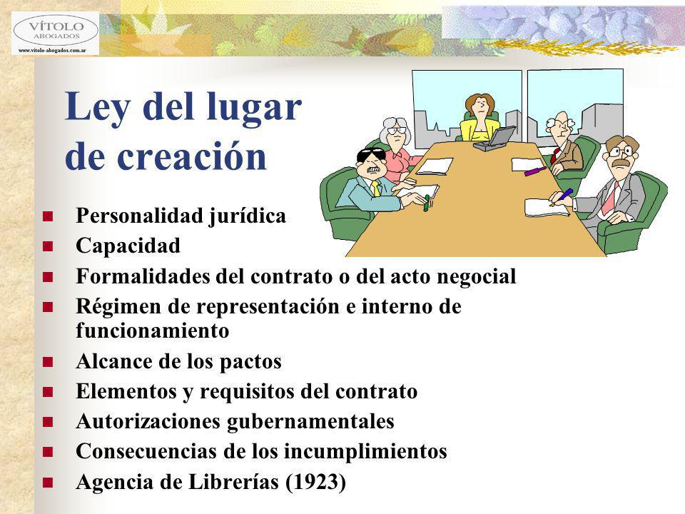 Ley del lugar de creación