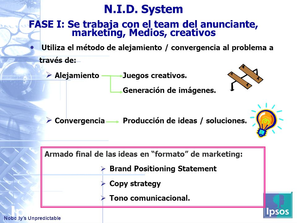 N.I.D. System FASE I: Se trabaja con el team del anunciante, marketing, Medios, creativos.