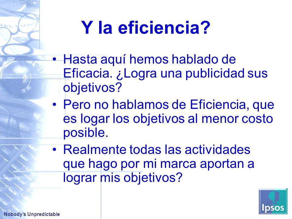 Y la eficiencia Hasta aquí hemos hablado de Eficacia. ¿Logra una publicidad sus objetivos
