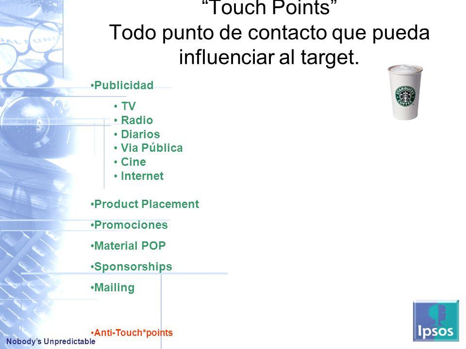 Touch Points Todo punto de contacto que pueda influenciar al target.