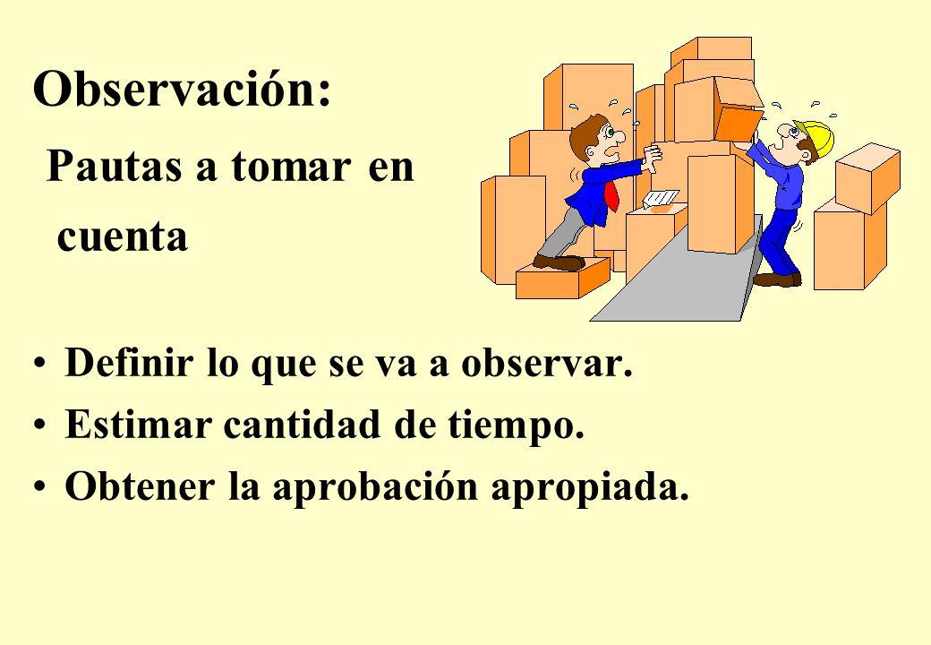 Observación: Pautas a tomar en cuenta Definir lo que se va a observar.