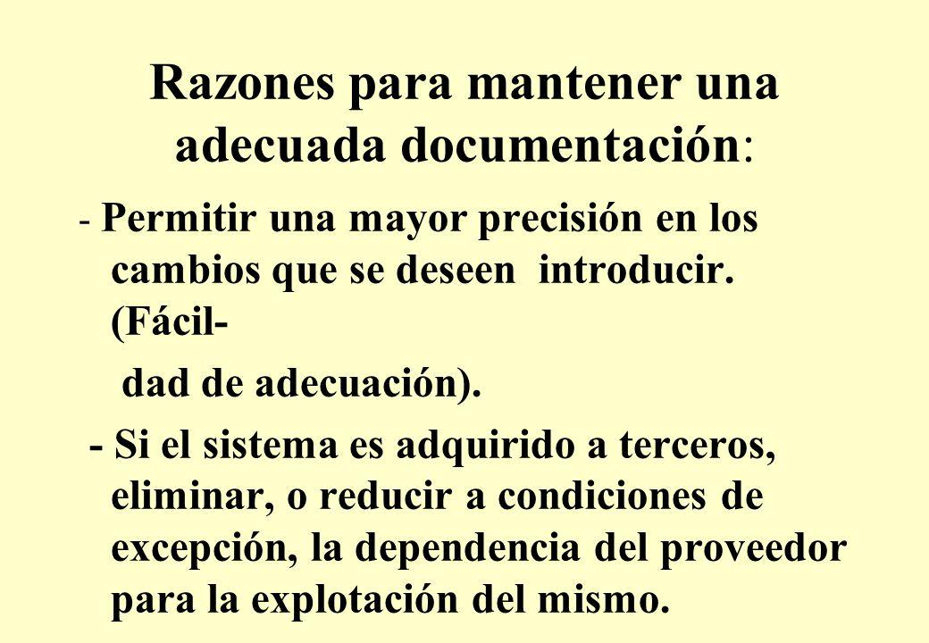 Razones para mantener una adecuada documentación: