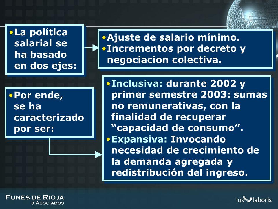 La política salarial se ha basado en dos ejes: