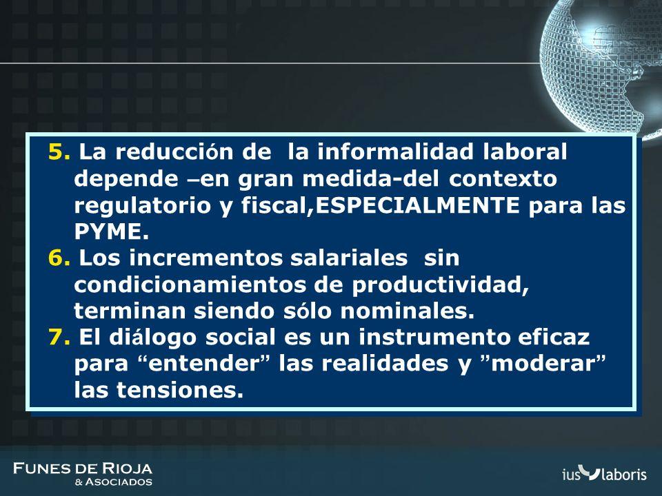 5. La reducción de la informalidad laboral depende –en gran medida-del contexto regulatorio y fiscal,ESPECIALMENTE para las PYME.