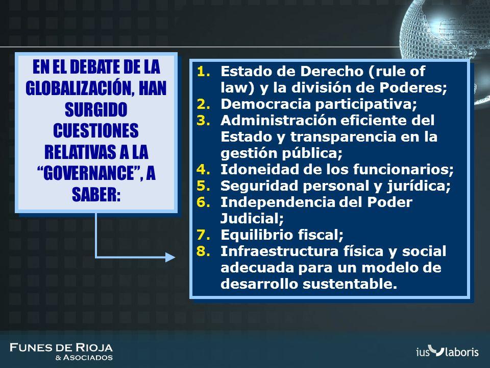 EN EL DEBATE DE LA GLOBALIZACIÓN, HAN SURGIDO CUESTIONES RELATIVAS A LA GOVERNANCE , A SABER: