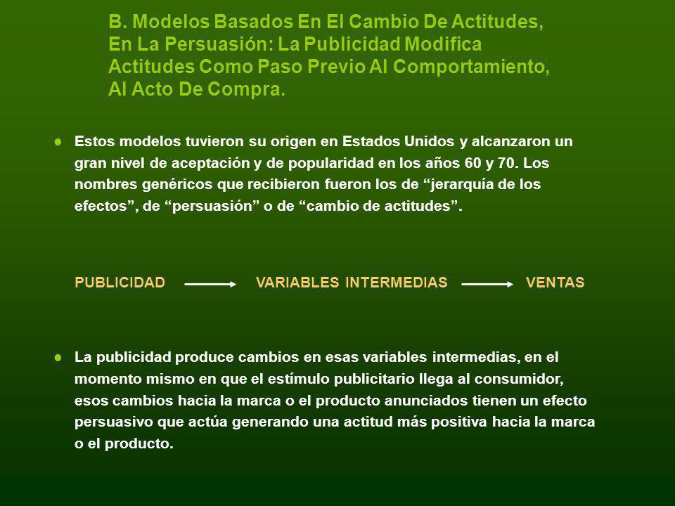 B. Modelos Basados En El Cambio De Actitudes, En La Persuasión: La Publicidad Modifica Actitudes Como Paso Previo Al Comportamiento, Al Acto De Compra.