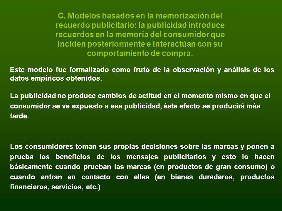C. Modelos basados en la memorización del recuerdo publicitario: la publicidad introduce recuerdos en la memoria del consumidor que inciden posteriormente e interactúan con su comportamiento de compra.