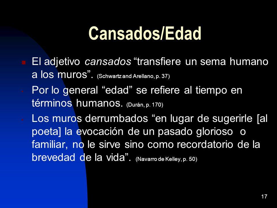 Cansados/Edad El adjetivo cansados transfiere un sema humano a los muros . (Schwartz and Arellano, p. 37)