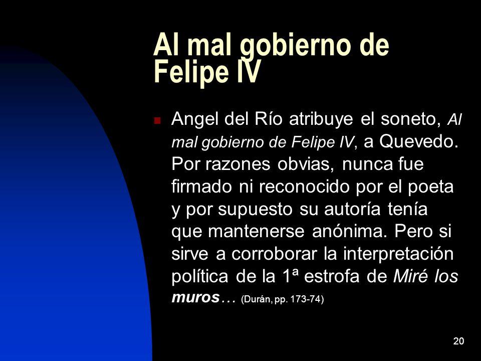 Al mal gobierno de Felipe IV