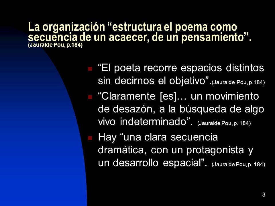 La organización estructura el poema como secuencia de un acaecer, de un pensamiento . (Jauralde Pou, p.184)