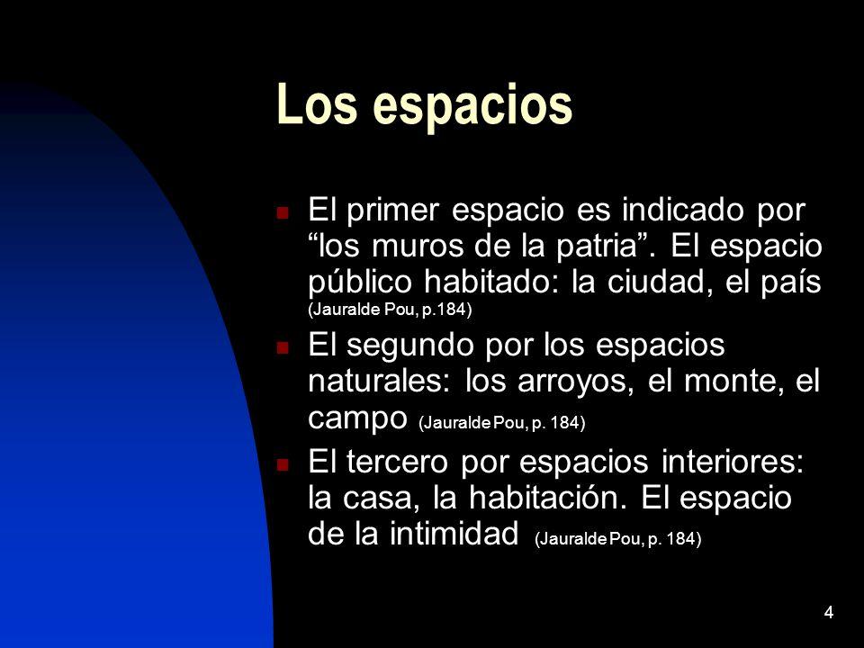 Los espacios El primer espacio es indicado por los muros de la patria . El espacio público habitado: la ciudad, el país (Jauralde Pou, p.184)