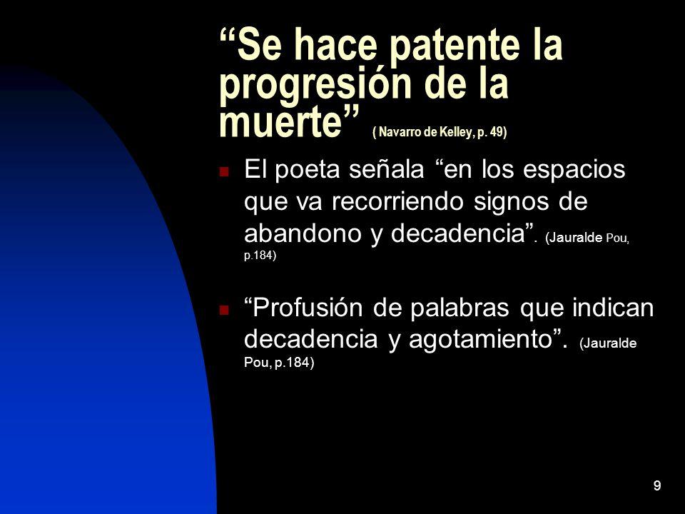Se hace patente la progresión de la muerte ( Navarro de Kelley, p