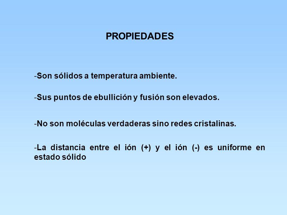 PROPIEDADES Son sólidos a temperatura ambiente.