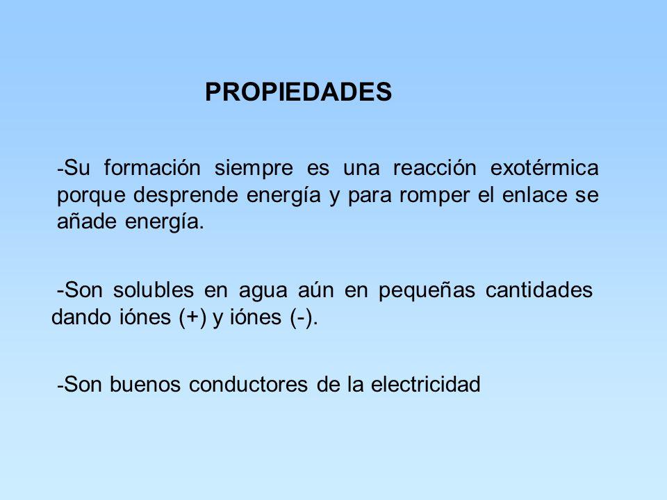 PROPIEDADES -Su formación siempre es una reacción exotérmica porque desprende energía y para romper el enlace se añade energía.