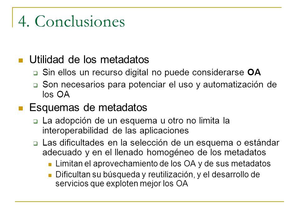 4. Conclusiones Utilidad de los metadatos Esquemas de metadatos