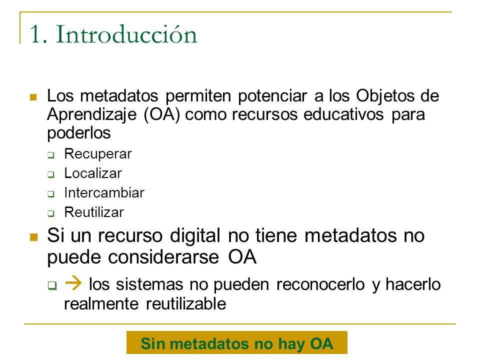 1. Introducción Los metadatos permiten potenciar a los Objetos de Aprendizaje (OA) como recursos educativos para poderlos.