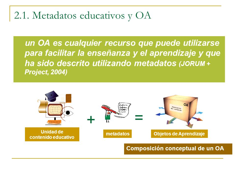 2.1. Metadatos educativos y OA