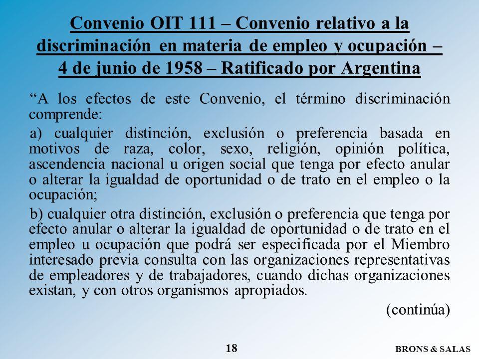 Convenio OIT 111 – Convenio relativo a la discriminación en materia de empleo y ocupación – 4 de junio de 1958 – Ratificado por Argentina