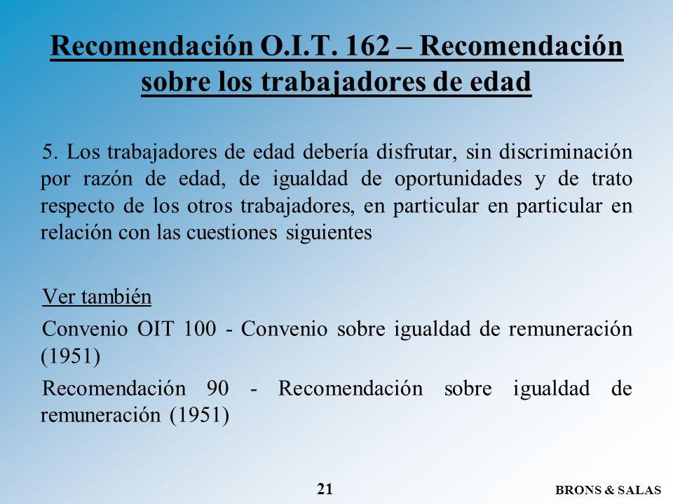 Recomendación O.I.T. 162 – Recomendación sobre los trabajadores de edad