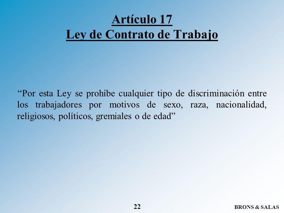 Artículo 17 Ley de Contrato de Trabajo