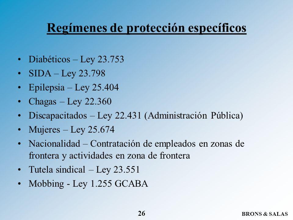 Regímenes de protección específicos