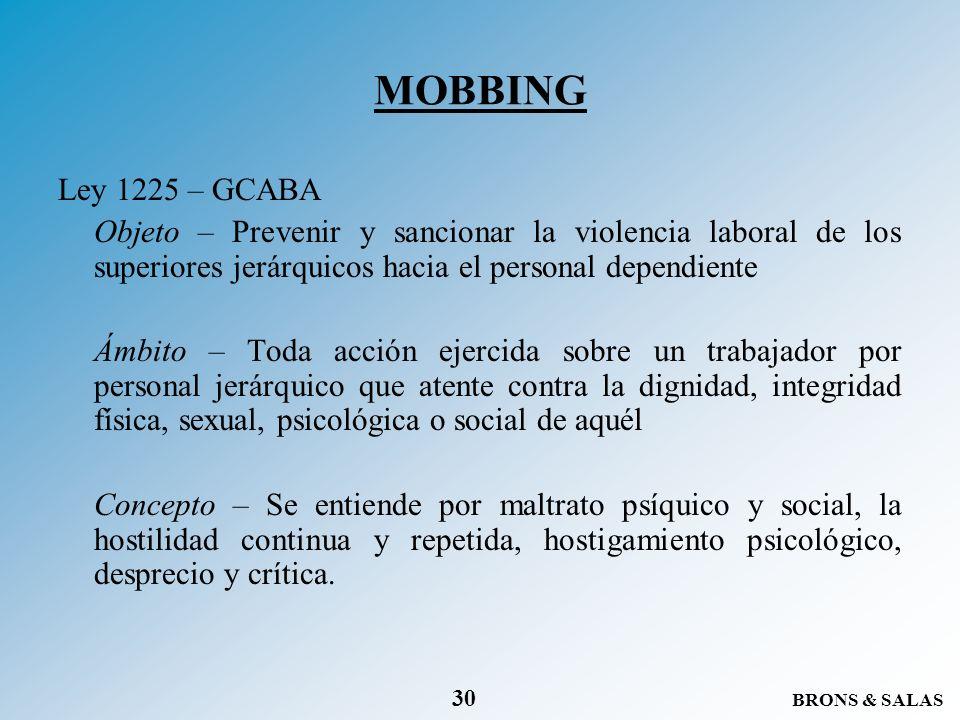 MOBBING Ley 1225 – GCABA. Objeto – Prevenir y sancionar la violencia laboral de los superiores jerárquicos hacia el personal dependiente.