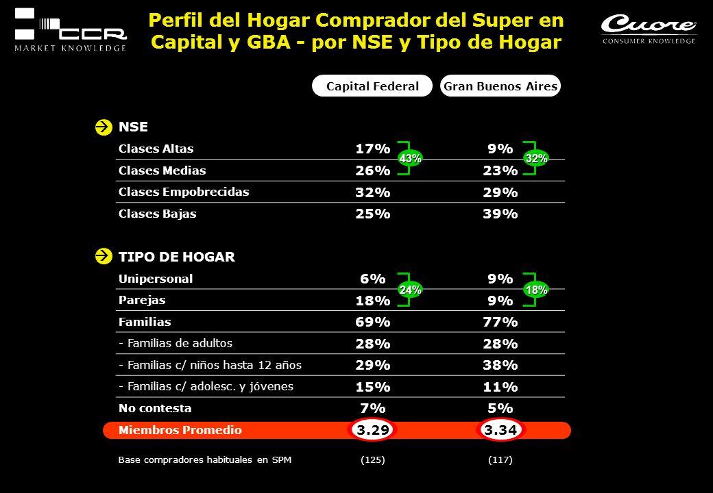 Perfil del Hogar Comprador del Super en Capital y GBA - por NSE y Tipo de Hogar