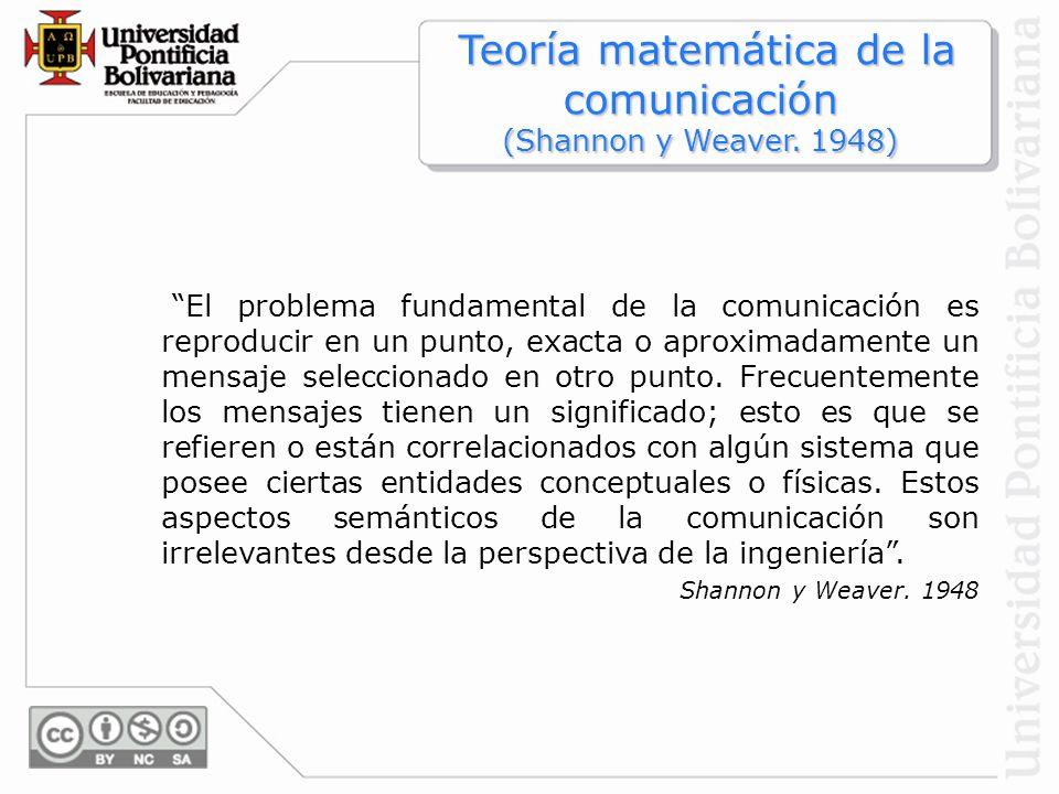 Teoría matemática de la comunicación (Shannon y Weaver. 1948)