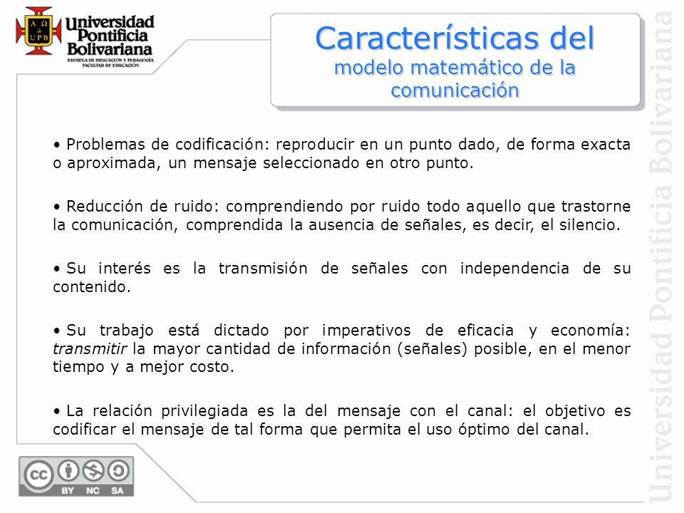 Características del modelo matemático de la comunicación