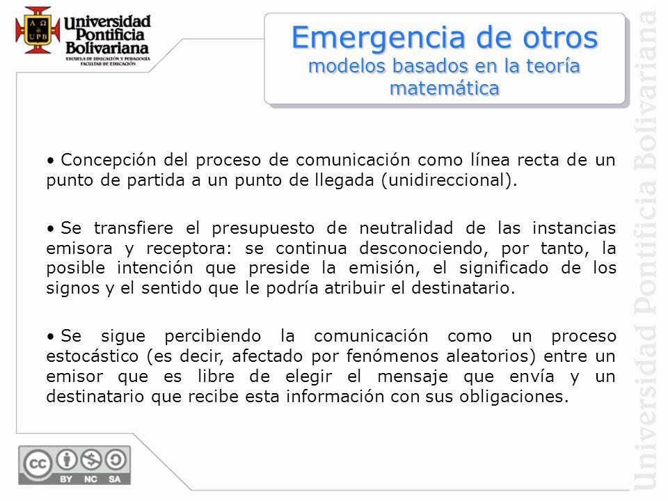 Emergencia de otros modelos basados en la teoría matemática
