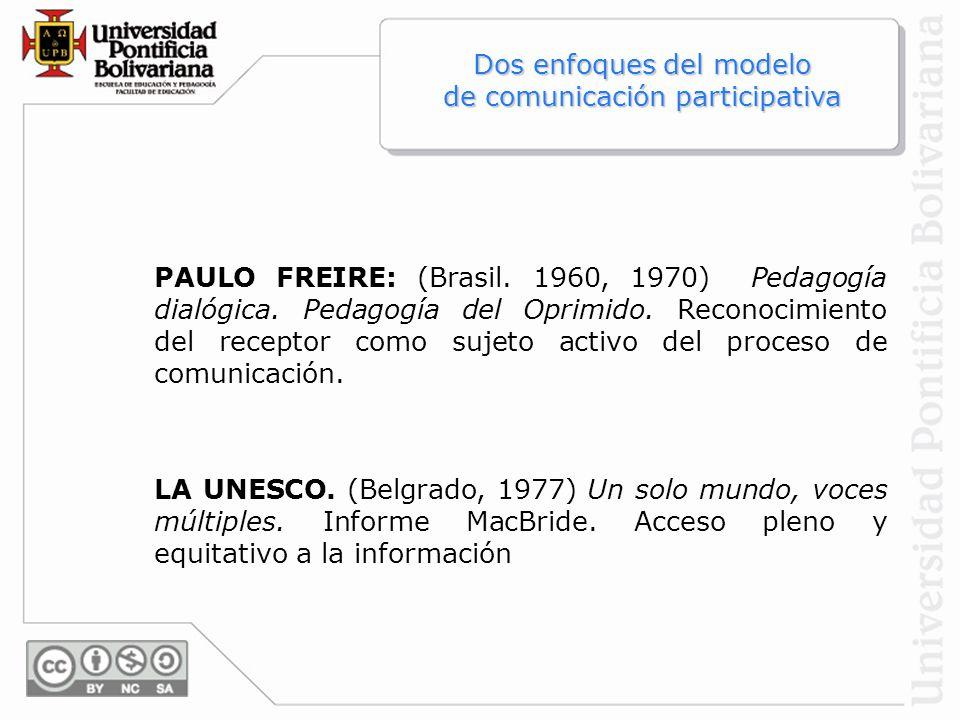 Dos enfoques del modelo de comunicación participativa