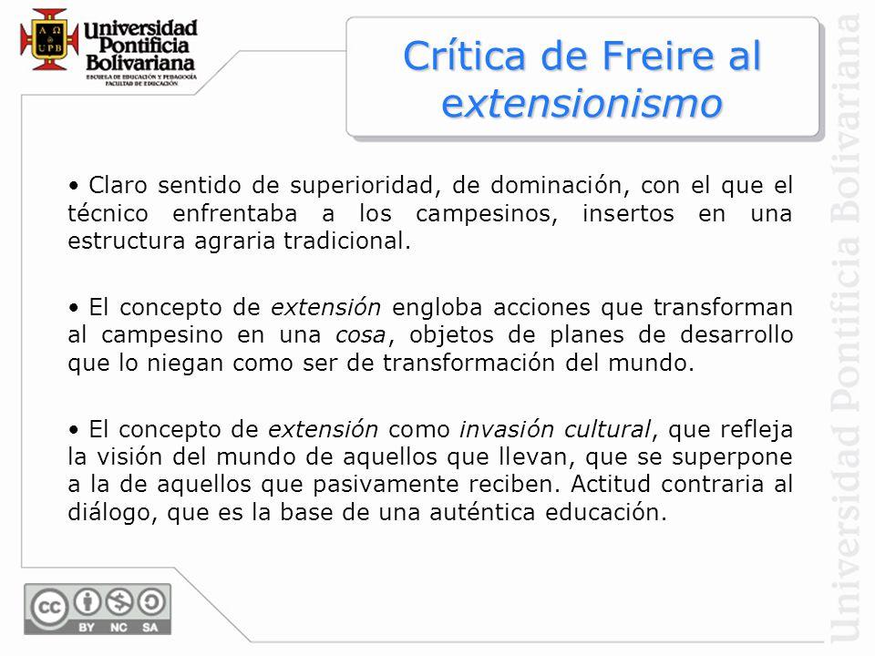 Crítica de Freire al extensionismo