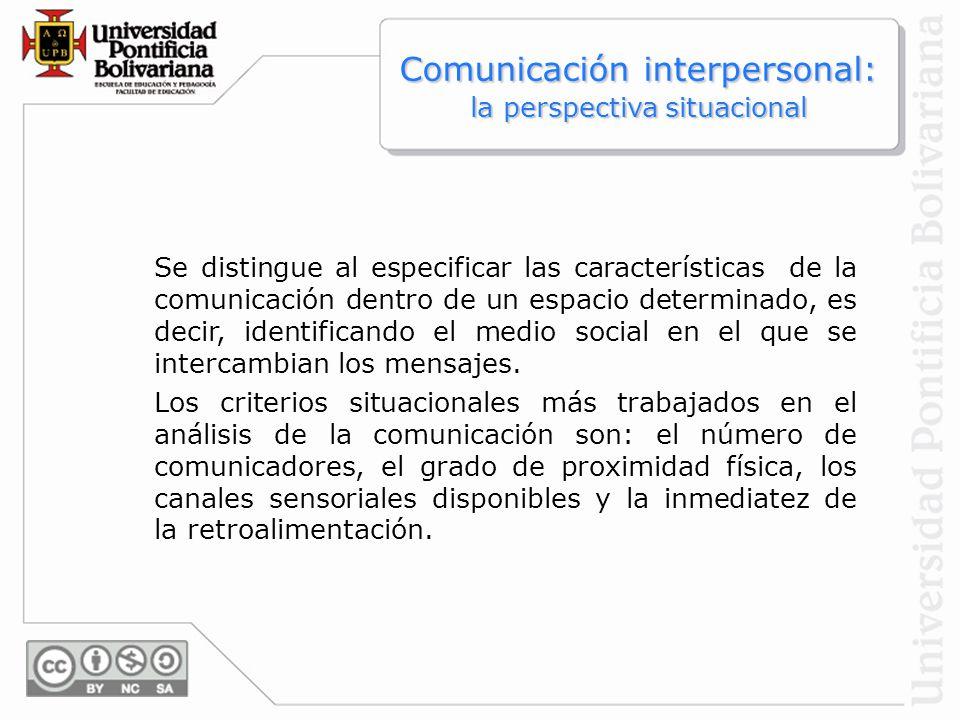 Comunicación interpersonal: la perspectiva situacional