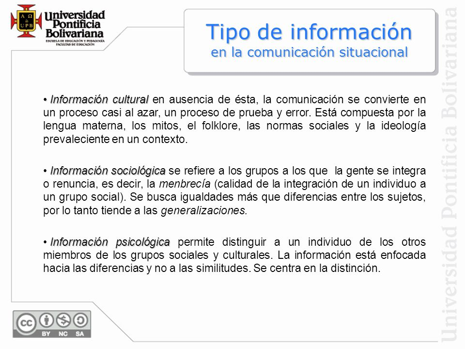 Tipo de información en la comunicación situacional