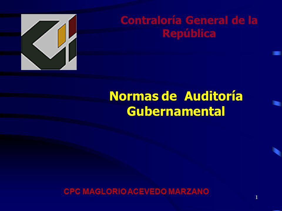 Contraloría General de la República Normas de Auditoría Gubernamental